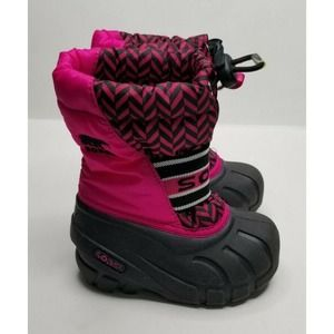SOREL Toddler Girl Boots Size 6 Black and Pink